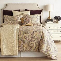 Though the paisley motif originated in Asia, it's been popular in Europe since the 17th century and continues to be the basis for beautiful patterns. Our Seasons Paisley bedding boasts an opulent print in deep purple accented with shades of cream, teal and plum. Comforters are crafted of smooth cotton and have loft poly fill. Create a sensational master bedroom by adding the matching shams, the cotton velvet Euro sham and embroidered decorative pillow.