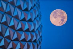 'Supermoon' shines over Spaceship Earth at Epcot. #Disney