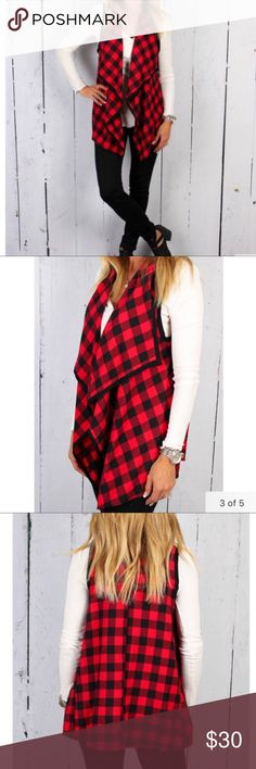 Red buffalo plaid drape vest In excellent condition. Purchased online and wore once to attend a sporting event. Looks great with white underneath as in Pictures, but I wore a long black tunic under and that looked food too. Buffalo plaid is in! Size small but nice and loose so this would also work for a medium. tickled teal Tops