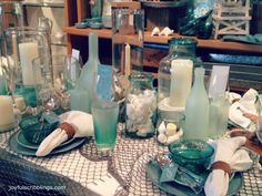 Pottery Barn Sea Glass Inspired Tablescape #coastal decor #sea glass