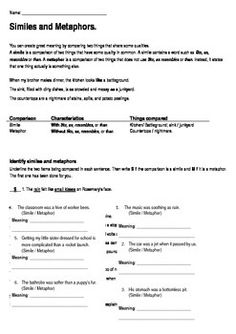 Silent E Rule Worksheets Word I Use This Activity When Teaching About Metaphors And Similes And  Able Suffix Worksheet Excel with Reading Worksheets Printable Excel Years  Similes And Metaphors Assessment Or Homework Sheet If You Have A  Problem With Any Worksheet Please Contact Me How To Unhide Worksheets In Excel Word