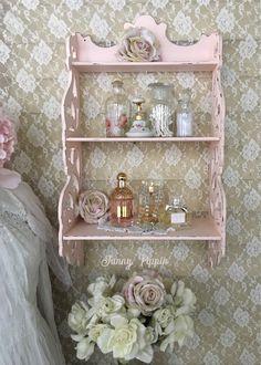 Shabby Pink Curio Shelf, Three Tier Teacup shelf, Pink Display Shelf, Scroll shelf, shabby cottage chic, bedroom, bathroom, fanny pippin by FannyPippin on Etsy https://www.etsy.com/listing/592294231/shabby-pink-curio-shelf-three-tier
