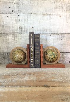 Bookends Globe Bookends Antique Wood Bookends Old World Map Globe Bookends Library Decor Mid Century Office Decor Cottage Chic Bookends by TheDustyOldShack on Etsy
