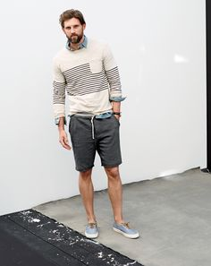 J.Crew men's cotton beach sweater and striped waistband sweatshort in faded black. To preorder call 800 261 7422 or email verypersonalstylist@jcrew.com.