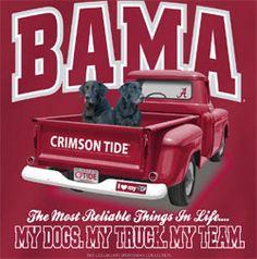 Alabama Crimson Tide Football T-Shirts - My Dogs My Truck My Team Tee