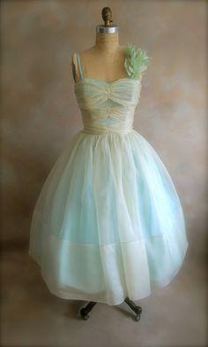 vintage 50's ivory blue orangza tea length wedding dress $225