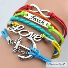 Armband Anker Love & Faith Multicolor   im Organza Beutel