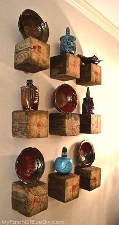 etagere, cubes de bois de palettes
