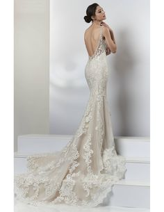 Check out the train on this exquisite lace mermaid available at Spotlight Formal Wear! #SpotlightBridal