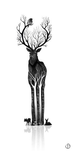The black deer Art Print by Youcoucou