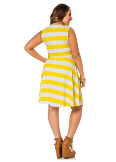 Bold Stripe Skater Dress - Ashley Stewart