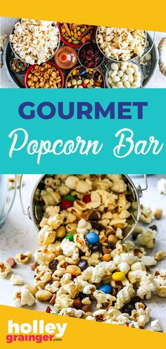 Need a special movie night treat? Set up a gourmet popcorn bar! Aim for variety when selecting the ingredients for your popcorn bar from sweet, salty, and spicy stir-ins. A popcorn bar males for an easy appetizer, snack or dessert. Fun Snacks For Kids, Healthy Meals For Kids, Kids Meals, Healthy Snacks, Healthy Recipes, Gourmet Popcorn, Popcorn Bar, Tailgating Recipes, Snack Recipes