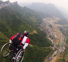 Paralyzed base jumper throws himself off a 1,100ft bridge in a WHEELCHAIR.  This incredible picture shows an extreme sports fanatic throwing himself off a 1,100ft bridge - despite being left wheelchair bound following a base jumping accident.  Paralysed Lonnie Bissonnette has jumped from bridges and being piggy-backed off the edge of a cliff.  The 48-year-old Canadian has also donned a wing-suit and glided for hundreds of feet at speeds of up to 80-miles-per-hour.