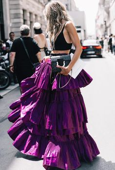 bright purple tiered ruffle skirt with black crop top | fancy dress up outfit | date night or wedding guest outfit inspiration