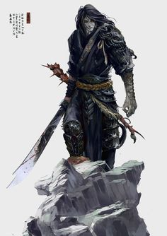 Male samurai (?) fighter with katana. Looks like an undead/vampire/tiefling?…