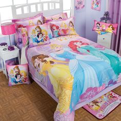 Twin, Full and Queen Girls and Teens Disney Princess Softy Comforter Set Disney Princess Room, Disney Princess Toddler, Princess Bedrooms, Princess Belle, Bed For Girls Room, Girls Bedroom, Kids Room, Girls Room Design, Girl Bedroom Designs