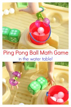 Ping Pong Ball Math Game in the Water Table - Mom Inspired Life