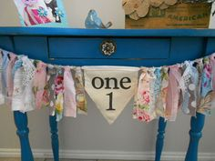 Birthday High Chair Banner/ Garland/ AGE or INITIAL//Shabby Fabric Rag Tie Garland/ First Birthday/Pennant Banner/ Nursery/ The Vintage Girl on Etsy, $43.00