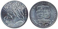 Остров Мауи, медно-никелевая монета, 1 доллар. На реверсе монеты изображены два дельфина в прыжке на фоне солнца. Год выпуска 2007.