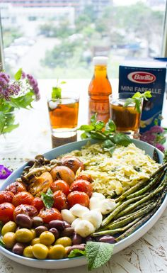 Summer Pasta Salad Platter With Sweet Tea Dressing