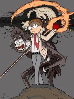 Death Note vs Rick and Morty Rick And Morty Quotes, Rick And Morty Poster, Rick And Morty Crossover, Rick And Morty Drawing, Rick Und Morty, Dope Cartoons, Fan Art, Death Note, Cartoon Wallpaper