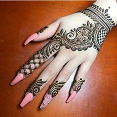 Henna Mehndi Design for beginners Very easy design Latest Arabic Mehndi Designs, Back Hand Mehndi Designs, Henna Art Designs, Mehndi Designs For Girls, Mehndi Designs 2018, Mehndi Designs For Beginners, Stylish Mehndi Designs, Mehndi Design Photos, Mehndi Designs For Fingers