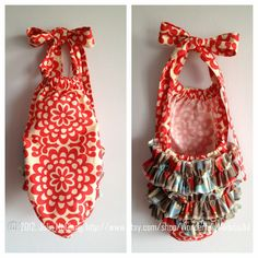 """Girl Ruffle Romper/Sun Suit,  Amy Butler  """"Lotus"""" fabric, by WonderfullyMadebyJul on Etsy"""