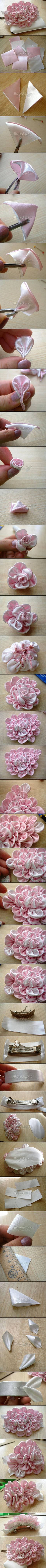 Discover thousands of images about KANZASHI na Stylowi. Cloth Flowers, Felt Flowers, Satin Flowers, Diy Flowers, Crochet Flowers, Fabric Flowers, Paper Flowers, Flower Diy, Ribbon Flower