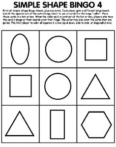 Free simple shapes bingo printable   Shapes   Pinterest   Simple ...