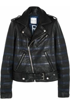 Each X Other striped textured-leather biker jacket