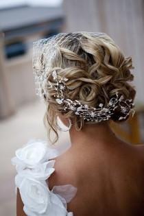 wedding photo -  Stunning Bridal Updo Hairstyle With Rhinestone  Headpieces ♥ Beach Wedding Hairstyle