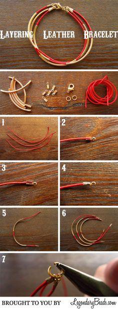 Tutorial: Leather Bracelet DIY bracelet fil cuir et tubes dorés Diy Leather Bracelet, Leather Jewelry, Wire Jewelry, Jewelry Crafts, Beaded Jewelry, Beaded Bracelets, Ankle Bracelets, Leather Cuffs, Jewlery