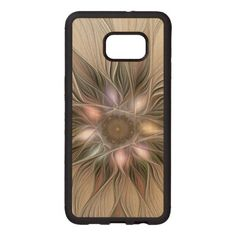 Joyful Flower Abstract Beige Brown Floral Fractal Wood Samsung Galaxy S6 Edge Case