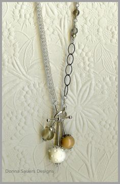 Vanilla Latte Toggle Necklace | Handmade Glass Beads | Donna Sauers Designs