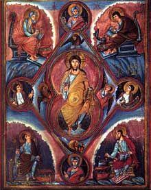 Legacy Icons — Christ with Evangelists and Prophets Illumination Charles The Bald, Christ Pantocrator, Carolingian, Madonna And Child, Bnf, Celtic Designs, Sacred Art, Illuminated Manuscript, Roman Catholic