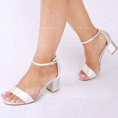 [US$ 34.99] Women's Satin Chunky Heel Peep Toe Sandals With Buckle (047142644)