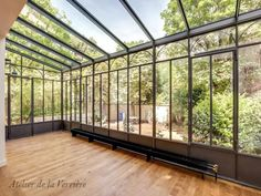 The sunroom I'll one day enjoy - my perfect yoga, meditation and office space. Okay - my perfect home in general. I could live here. Just add a kitchen + bath. Orangerie Extension, Conservatory Kitchen, Small Sunroom, Pergola, Home Greenhouse, Yellow Houses, Garden Office, Glass Roof, House Extensions