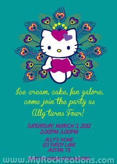 Hello Kitty Peacock Birthday Party by rockreations on Etsy, $13.00