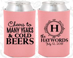 Wedding Coolies - Cheers To Many Years and Cold Beers - Monogram - Personalized Coolies, Custom Beer Coolies, Wedding Favors (39) by MyWeddingStore on Etsy https://www.etsy.com/listing/250226682/wedding-coolies-cheers-to-many-years-and