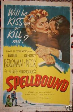 "Alfred Hitchcock's ""Spellbound"", 1945  Original Vintage Movie Posters  Starring Gregory Peck  Bergman  See it at www.cvtreasures.com , Conway's Vintage Treasures   $750"