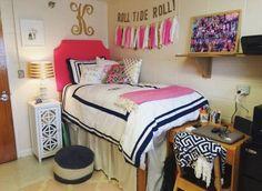 Show your school pride with DIY wall art in preppy dorm rooms!