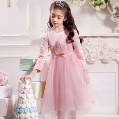 216d18ae7d15 Girl party dress autumn winter white pink gray wedding princess 4 5 6 7 8 9