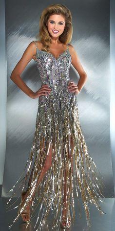 Mac Duggal Sequined Fringe Dress (85096M)