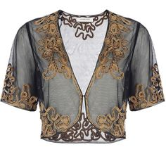 Windsmoor Antique gold embellished shrug (130 PLN) ❤ liked on Polyvore featuring outerwear, jackets, tops, shrugs, black, knitwear, windsmoor, cardigan shrug and shrug cardigan