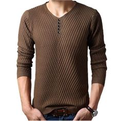Cheap jersey hombre, Buy Quality men cashmere pullover directly from China sweater men cashmere Suppliers: Winter Henley Neck Sweater Men Cashmere Pullover Christmas Sweater Mens Knitted Sweaters Pull Homme Jersey Hombre 2018 Men's V Neck Sweaters, Casual Sweaters, Winter Sweaters, Pullover Sweaters, Casual Shirts, Mens Pullover, Knitting Sweaters, Cheap Sweaters, Christmas Sweaters