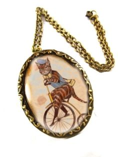 Kitty on Vintage Bicycle Wearable Art Pendant..  The finished result is a conversation piece!