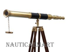 """Chrome 10/"""" Solid Brass Telescope with Tripod Stand Decorative Collectible Decor"""