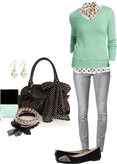 """""""Mint, polka dots, and grey"""" by alysia123 ❤ liked on Polyvore"""