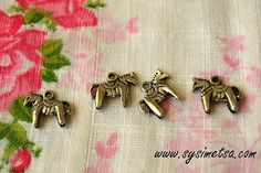 Miniature Dala Horse Charms - Antique Silver Color Horse Animal Pendants 4pcs - 13x12 mm - Nickel Free