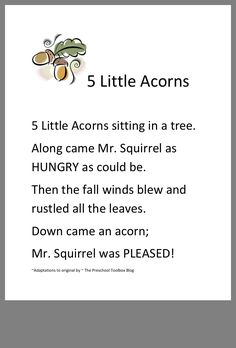 5 little acorns – Babies Kindergarten Songs, Preschool Songs, Preschool Curriculum, Preschool Classroom, Preschool Learning, Preschool Education, Early Education, Teaching, Homeschooling